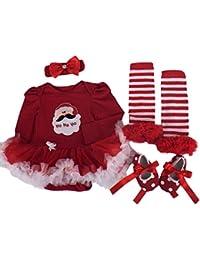 kingko(TM) 4pcs nouveau-né de Noël Infant Baby Girl Romper Tutu robe Bandeau Chaussures Chaussettes Ensembles Tenues Vêtements Bodysuit