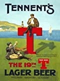 Tennent's Lager Beer. The 19th T AKA the club house on a golf course. Tee, t'ing off. Old retro vintage for house, home, pub, kitchen or bar. Medium Metal/Steel Wall Sign