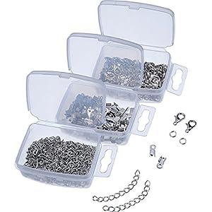 Crimpenden Verschluss Schnüre Endet Karabiner mit Springringen und Karabinerverschluss Set für Armband Halsketten, 300 Stück