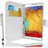 *** Etui Housse Cuir Portefeuille Blanc Samsung Galaxy Note 3 N9000 + STYLET et 3 FILM OFFERT !***