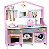 Aiya Kids Kitchen Spielzeug Spielzeug Spielzeug Spielküche Playset für KidsPremium Made of Wood, mit integriertem Kaffee, Geschirrspüler, Waschmaschine, Küche fördert Kinderrolle Spielen Spielzeug