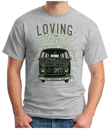 OM3 - LOVING-CLASSIC - T-Shirt ORIGINAL OLDTIMER LIFE is SIMPLY PEACE KULT AUTO BUS CULT CARS GEEK, S - 5XL Grau Meliert