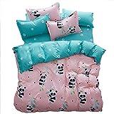 URIJK Bettwäsche Set 3/4 Teilige Bettbezug Kissenbezug Betttuch mit Panda Muster Baumwolle mit Reißverschluss Set für Schlafzimmer Kinderzimmer