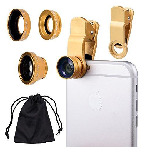 n-1 Kameraobjektiv-Set für Smartphones (iPhone, Galaxy, HTC, Motorola), iPad, iPod Touch, Laptops, ein Fischaugenobjektiv, ein 2-in-1-Makroobjektiv und Weitwinkelobjektiv, ein Universal-Clip, eine Mikrofaser-Tragetasche, mit Camkix Einzelhandelsverpackung, gold ()