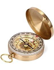 AcTopp Kompass Wasserdichter Messing Taschenuhr Taschenkompass Spielzeug Klassischer Marschkompass mit Leuchtziffern für Camping Wandern Outdoor Navigation