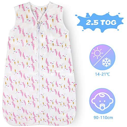 Lictin Schlafsack Baby Winterschlafsack 2.5 Tog Babyschlafsack Einstellbar 90-110cm für Neugeborene 18-36 Monate Pink