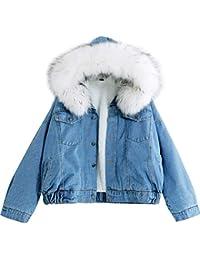 23b8f1e645a9 IWFREE Damen Jeansjacke Denimjacke Wintermantel Frau Winterjacke Warm  Gefüttert Denim Jeans Jacket Mantel Outwear Kurz Dicker