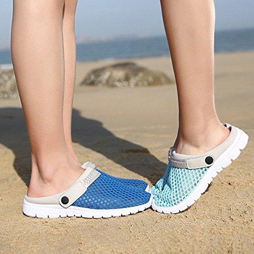 Juqilu Unisexe Adulte Sandales Sabots Occasionnels Chaussures De Plage Respirant Sabots Et Sabot Pantoufles D'été Sabots Femmes Hommes Pantoufles Pantoufles Chaussures 36-44 Bleu
