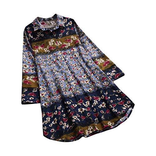 Glamour Vintage Bluse (Geilisungren T-Shirt Damen Vintage Zufällig Blumenmuster Baumwolle Leinen Bluse Lose Oversized Lang Tunika Tops Frauen Casual Plus Größen Langarm Umlegekragen Knopf Oberteile)