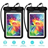 "Universal Waterproof Case, MoKo [2-Pack] Dry Bag Pouch for iPad Mini Retina, Mini 2/4, Tab 2/3/4/5, Tab S2 8.0, Tab E 8.0, Tab A 8.0, G Pad 8.0, Nexus 7(FHD) & Other Tablets up to 8.3"", BLACK + BLACK"