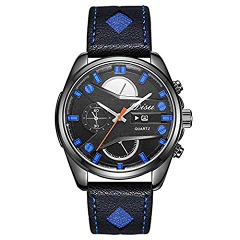 DOLDOA Mode Homme Rétro Conception Quartz Alliage analogique Montre-bracelet (Bleu)