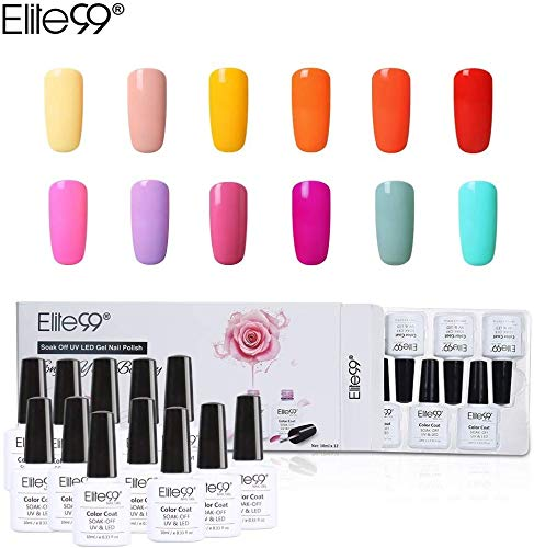 Elite99 Esmalte Semipermanente UV LED 12pcs Kit Uñas