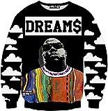 Pizoff Unisex Hip Hop Sweatshirts mit 3D Digital Print 3D Muster bunt bemalten Figuren Y1759-N8-L