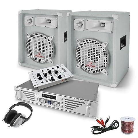DJ-PA Komplett-System White Bassalt (Skytec PA-Verstärker 2 x 240W + 2x 400W PA Boxen, 2-Kanal Mischpult, Kopfhörer)