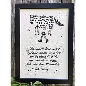 """""""Freiheit bedeutet…"""" Bild, Poster, Dekoration, Hand gemaltes Aquarell, schwarz-weiß, hygge, Din A4, Geschenkidee, Pippi Langstrumpf, MIT Rahmen"""