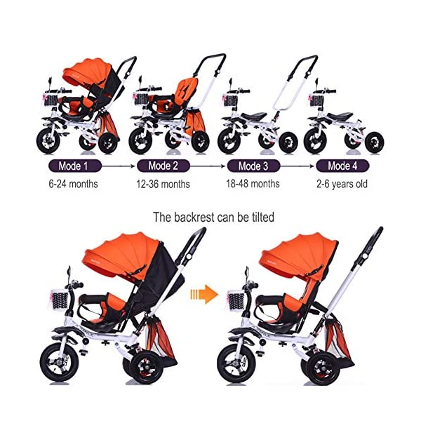 GSDZSY - 4 IN 1 Luxury Children Tricycle, Adjustable Seat, Baby Can Sit Or Lie Flat, Foldable Frame With Shock Absorber, 1-6 Years Old GSDZSY ❀ Material: High carbon steel + ABS + rubber wheel, suitable for children from 1 to 6 years old, maximum load 30 kg ❀ Features: The frame can be folded, the seat can be rotated 360; the backrest can be adjusted, the baby can sit or lie flat, the push rod and the parasol can be adjusted, suitable for different weather conditions ❀ Performance: high carbon steel frame, strong and strong bearing capacity; rubber wheel suitable for all kinds of road conditions, good shock absorption, seat with breathable fabric, baby ride more comfortable 7