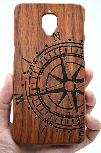 Holzsammlung® Oneplus 3 / Oneplus 3T Holzhülle - Palisander Kompass - NatürlicheHandgemachteBambus / Holz Schutzhülle für Ihr Smartphone