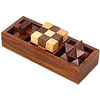 Trois en un bois Jeux de Puzzle, blocs de verrouillage, Diagonal Burr, et Serpent Cube