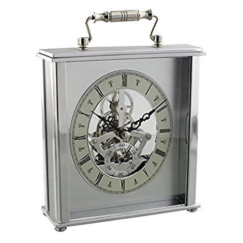 Silver Carriage Mantel Table Clock w Skeleton Dial Handle (Scheletro Orologio Da Tavolo)