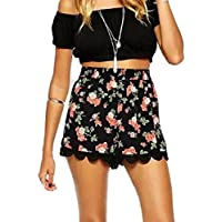 Longra Atractivo Pantalones Cortos, mujeres de impresión floral de cintura alta de encaje cortocircuitos ocasionales del verano pantalones cortos (negro, XL)