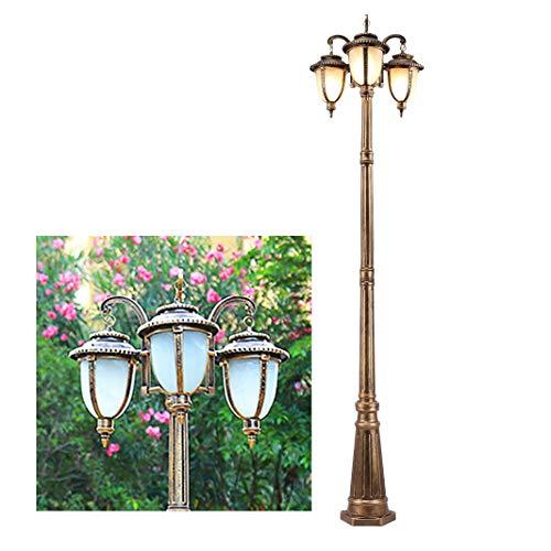 Straßenlaterne Retro Vintage Pollerleuchten Außenlampe aus Aluminium IP44, Wegeleuchte Gartenlampe in bronze mit Milchglas/ H230cm 3-Flammig E27/ je max. 60 Watt