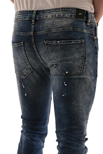 Sixth June Herren Jeans / Skinny Jeans Destroyed Biker Blau
