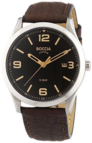 Boccia Herren-Armbanduhr XL Analog Quarz Leder, Schwarz/Braun, 3583-01