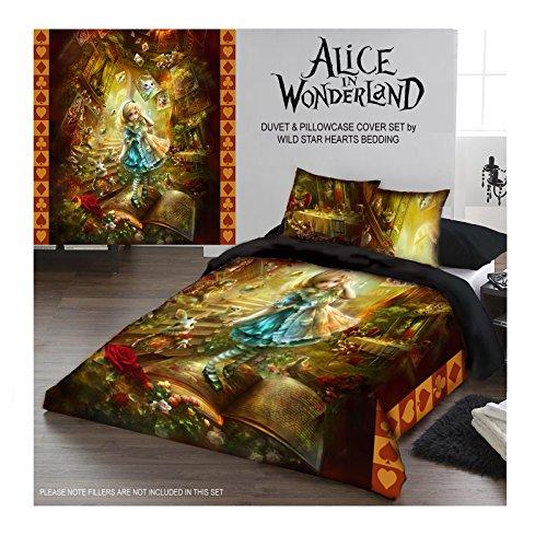 Wild Star Alice im Wunderland und Kissenbezüge, Bettbezug Set (King 220cm x 230cm) Alice Im Wunderland-schlafzimmer-set