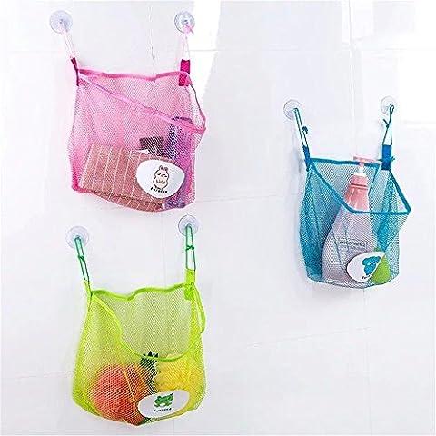 3PCs Baby Bath Bathtub Bathroom Toy Mesh Net Storage Bag Organizer Holder for Kids,2 Suction Cup Mesh Basket for Bathroom Kitchen- Hanging Mesh Hammock