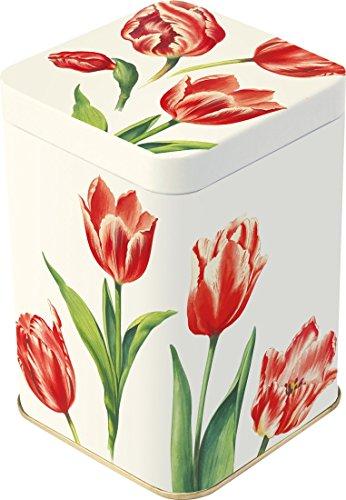 Boîte à thé – 113 g – Petit carré – Tulipes Rouge Design – 10,5 cm