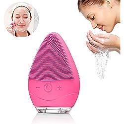 Brosse Nettoyante Visage Silicone Electrique - Facial Cleansing Exfoliants Pour le Visage et Massage Système de Nettoyage Rechargeable (Rose)