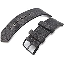 21mm MiLTAT WW2 Military Grey Washed Canvas Watch Band, lockstitch pin-hole, PVD