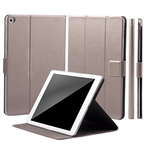 iCues Schutzhülle kompatibel mit Apple iPad Air 2 | Manzano Tasche | 360° Standfunktion Puppy Anthrazit Metallic | Extra Leicht sehr Dünn Leder - Imitat Book Schutz Etui Flip Case Booklet Hülle Wallet