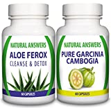 Maximum Strength Weight Loss and Detox Pills, Pure Garcinia Cambogia and Colon Cleanse Duo, 1 Month Supply by Natural Answers, Cleanse and Detox, Appetite Suppressant Diet Pill, Helps Boost Energy and Suppresses Appetite while Gently Cleansing, Supports H