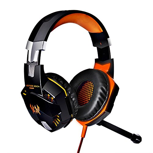 KingTop EACH G2000 Cuffie Gaming con Fascia Microfono Stereo Luce Bass LED per PC, Arancio e Nero