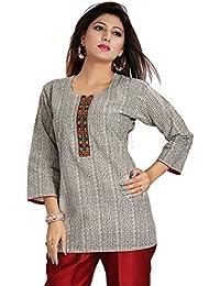 Color Petal Grey Colour Short Cotton Kurti With Unique Neckline For Women
