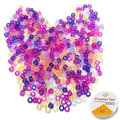 1000 Stück UV-Perlen, Glow Perlen, Multi Farbwechsel Sun Sensitive Uv reaktive Kunststoff Pony Perlen, leuchtet im Dunkeln, Spaß für Schmuck / Armbänder machen, Kinderspielzeug, DIY-Zubehör, Angeln