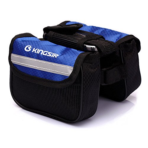 FakeFace 420D Nylon 3-Fach Oberrohrtasche mit Netz Handyfach Satteltasche Gepäckträgertasche für Fahrrad Mountainbike Radsport 15 x 14 x 12 (Schwarz) Blau 1