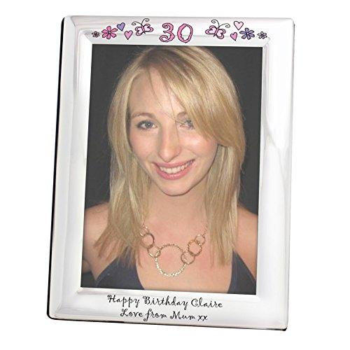 Floral Butterfly Age cornice portafoto in argento 5x 7-personalizzabile con un messaggio di età e