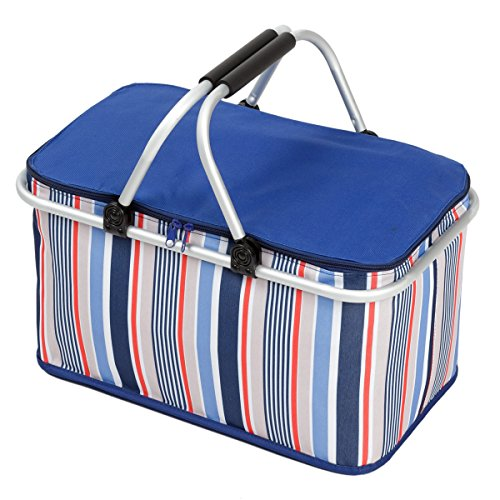 Folding Picknick-Korb, NATUCE 32L Große Klappisolierte Lunchbox, Camping Einkaufen Kühltasche mit Aluminium Tragegriffe zum Wandern Angeln Reise BBQ - Blau
