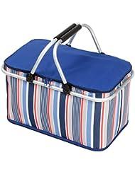 Plegable cesta de Picnic, natuce 32L gran bolsa de refrigerador aislado almuerzo caja, Camping plegable y reutilizable con asas de transporte de aluminio para senderismo pesca barbacoa de viaje–azul
