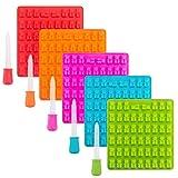 Tebery Silikon Gummibärchen-Formen mit Pipetten - Set aus 5 Gummibären-Formen und 5 Pipetten ohne BPA