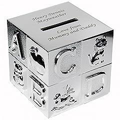 Idea Regalo - PMC - Salvadanaio personalizzato con incisioni ABC, regalo ideale di battesimo, compleanno or Natale per bambini