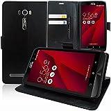 """Asus Zenfone 2 Laser ZE600KL/ ZE601KL 6"""" Étui HCN PHONE® Housse Portefeuille Etui Clapet Folio Livre Rabat Support Intégré pour Asus Zenfone 2 Laser ZE600KL/ ZE601KL 6"""" - NOIR"""