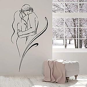 supmsds Nackter Mann Und Frau Wandaufkleber Liebe Sex Romance Vinyl Wandtattoo Nordic Dekoration Schlafzimmer Dekor Zubehör 75X138 cm