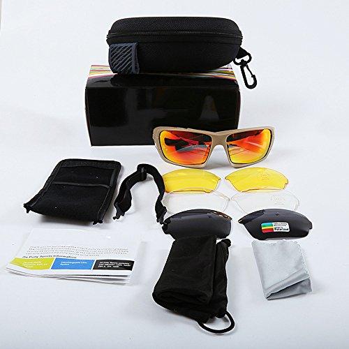 Douerye Die Taktischen Gläser der Explosionssicheren Schutzbrillen, Die Im Freien Reiten, Polarisieren Gläser der Linse der Gläser 4,Beige