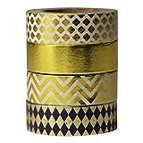 UOOOM 4 Rollen Washi Tape Set Gold Dekorative Abdeckband für DIY Craft Scrapbooking Geschenkpapier Länge je Rolle 10m