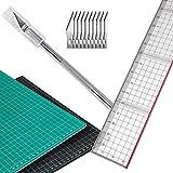 A3 Schneidematte (30 x 45 cm) mit Schneidelineal und Präzisionsmesser inkl. 10 Ersatzklingen