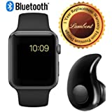 Lambent Black A1 Bluetooth SmartWatch With WhatsApp, Facebook, Twitter, Pedometer, Remote Camera, SIM Card & Sleep Monitoring Support With Ultra Small S530 Bluetooth 4.0 Headset Compatible With Xiaomi Mi, Apple IPhone & IPad, Samsung, Sony, Lenovo