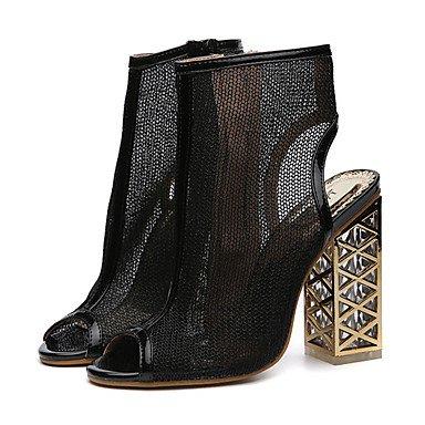 Fschooly Zapatos Mujer Piel Sintética Primavera Verano Confort Novedad Botas De Moda Sandalias De Tacón De Cristal Para Boda Casual Oro Negro Negro